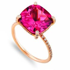 Vera Wang Ring with Pink Tourmaline and Micro-Pave Diamonds