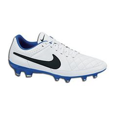b7f3fc7d3a0  NIKE Tiempo Genio Leather in white black-treasure blue colors is made of