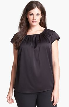 Anne Klein Textured Satin Blouse (Plus Size) available at #Nordstrom