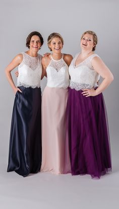 These gorgeous two-piece bridesmaid dresses can be mixed and matched and can also reduce alterations costs since they can order a different size top and bottom.