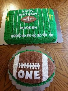 Football themed first birthday cakes