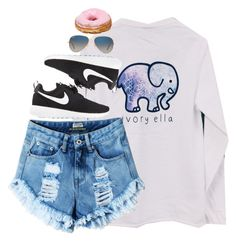 """""""Ivory Ella & Nike"""" by smbprep ❤ liked on Polyvore featuring NIKE and Ray-Ban"""