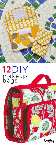 12 Adorable DIY Makeup Bag Patterns to Sew If your going on a roadtrip or flying across the country a makeup bag is a must. Make sure you don& loose your mascara or your toothbrush on your vacation by sewing one of these 12 cute makeup bags. Diy Makeup Bag Tutorial, Makeup Bag Tutorials, Makeup Ideas, Sewing Hacks, Sewing Tutorials, Sewing Crafts, Sewing Tips, Sewing Ideas, Makeup Bag Pattern