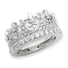 Genuine IceCarats Designer Jewelry Gift Size 6.00 Sterling Silver Fleur-De-Lis Crown Cz Ring In Sterling Silver.