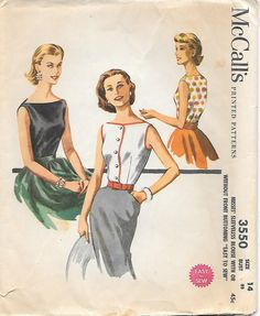 1955 Sleeveless Blouse McCalls 3550 Sewing Pattern, offered on Etsy by GrandmaMadeWithLove