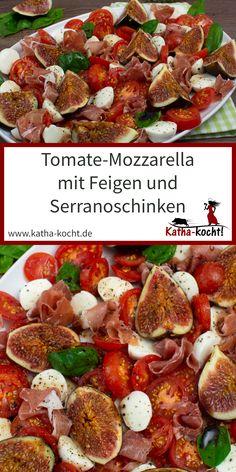 Tomato mozzarella salad with figs and serrano ham - Katha-kocht! Mozzarella Pasta, Tomate Mozzarella, Honey Balsamic Dressing, Caprese Salat, Blt Pasta Salads, Serrano Ham, Easy Sandwich Recipes, Bulgur Salad, Avocado Salad