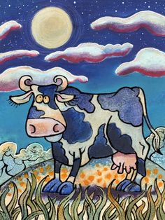 Full Moooooooon! English Artists, My Animal, Animal Paintings, Welsh, Folk Art, Snoopy, Fun, Animals, Fictional Characters