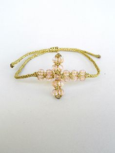 Macrame cross braceletBeaded with faceted by LuckyRatJewellery