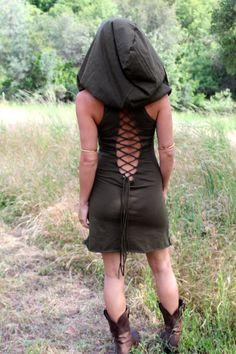 Hooded Mini Nienna Dress  Elven Tunic  The Summer by ZhenNymph, $85.00