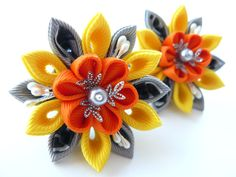 Kanzashi fabric flowers. Set of 2 ponytails . Yellow by JuLVa