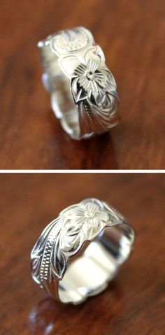 Floral etched ring
