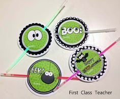 DIY gift tags for glow sticks Halloween class treats