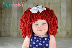 Raggedy Ann Wig *This listing is for the wig and bow. The costume is not included. • Handmade with chunky acrylic yarn • Removable white bow (see photo #5) • Full wig—yarn is securely woven into a snug fitting beanie that stops at the natural hairline • Stays on without pins, bands or glue •