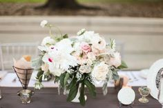 our romantic wedding flowers & decor (lots of pics!) :  wedding auswater flowers garden roses inspiration ivory peonies pink reception romantic wedding flowers silver white JenHuangNR5DW 147 Of 410