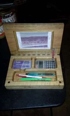 Wood note book style Desk Set / Desk Organizer with name plate and a picture frame.