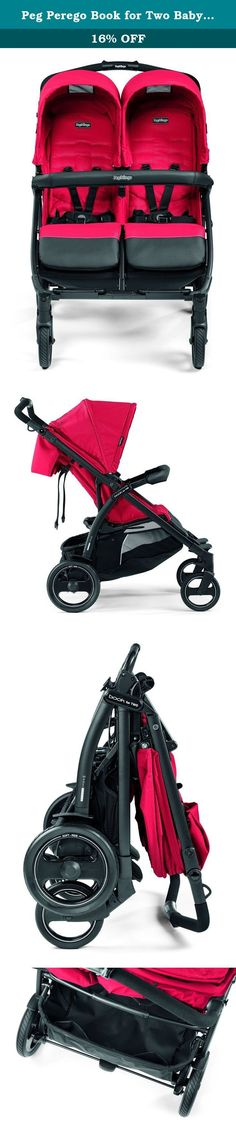 """Peg Perego Book for Two Baby Stroller-Mod Red. Our most compact side by side stroller, at just 29"""" wide it folds easily and inward, like a """"book"""" It can take up to two Primo Viaggio 4/35 car seats. Measuring at just 29"""" wide, the Book for Two is the side by side double stroller that will get you through those busy sidewalks or narrow store aisles with ease. Not only is this double stroller compact, it comfortably sits two young children up to 45 pounds each. The independent adjustable..."""
