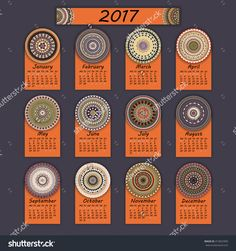 Calendar 2017. Vintage Decorative Colorful Elements. Ornamental Floral Oriental Pattern, Vector Illustration. Islam, Arabic, Indian, Turkish, Pakistan Chinese Ottoman Motifs - 472822903 : Shutterstock
