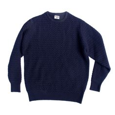 """blue crew-neck sweater fashion THE PERFECT SWEATER """"A navy waffle jumper because the French dream in navy—obviously. Sweater Fashion, Men Sweater, Get Like Me, Poppy Delevingne, Blue Crew, Cashmere Jumper, Made In Uk, Basket Weaving, Knitwear"""