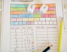 Game board showing one completely coloured fraction wall and one partially coloured fraction wall, and a completed record of the rolls and the colourings made. Fraction Wall, Fraction Games, Fraction Activities, Math Resources, Math Activities, Fractions Year 3, Teaching Fractions, Equivalent Fractions, Wall Game