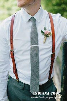 Leather Suspenders Wedding Suspenders Hand von IndianaCool