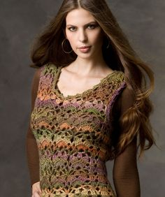 """Painted Wool Vest - This beautiful wool blend yarn is the perfect choice for our lacy crochet vest. Pattern stitches are combined with finesse and style for a garment that will be enjoyed for years.  RH Boutique """"Treasure"""": 3 (4, 5, 5, 6) balls Tapestry.  Crochet Hook: G/6/4mm  Directions for sweater are for women's size small. Chgs for med, large, X-large & XX-large are in ( ).  free pdf from Red Heart"""