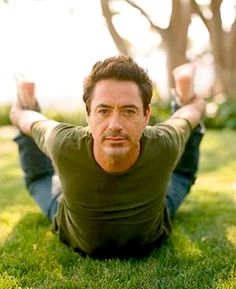 robert downey jr. in bow pose