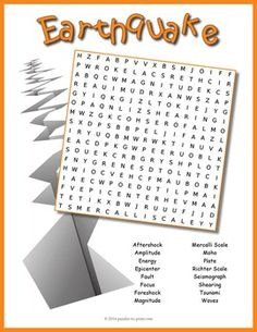 A word search puzzle featuring earthquake vocabulary words.  Students will…