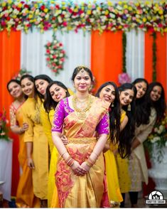 Would you attempt a pose like this with your bridesmaids? Indian Wedding Couple Photography, Wedding Picture Poses, Wedding Couple Photos, Bridal Photography, Wedding Poses, Bridesmaid Poses, Bride And Bridesmaid Pictures, Indian Bridesmaids, Marriage Poses