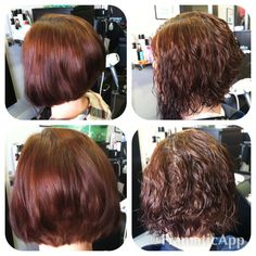 A Line Haircut Before After Perm Aline Haircuts Body Wave Permed