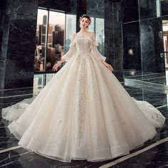 Victorian Style Champagne Wedding Dresses 2019 Ball Gown Off-The-Shoulder Puffy Sleeve Backless Appliques Lace Sequins Beading Cathedral Train Ruffle Wedding Dresses With Flowers, Wedding Dresses 2018, White Wedding Dresses, Bridal Dresses, Robes Quinceanera, Fairytale Gown, Princess Ball Gowns, Beautiful Gowns, Cathedral Train