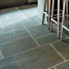 These bluestone patio pavers are hard-wearing, easy to clean, and inexpensive. Starting at 3 per square foot; at stone yards -- I want to put bluestone on our sunroom floor. click the link now for more info. Slate Flooring, Kitchen Flooring, Slate Tiles, Flooring Ideas, Stone Kitchen Floor, Ceramic Flooring, Modern Flooring, Concrete Floors, Kitchen Cabinets