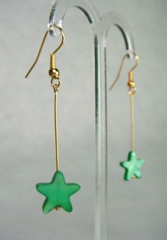 Mother of Pearl Star Drop Earrings - Green - £5.50 at http://jewellerybyrebecca.co.uk/mpe011