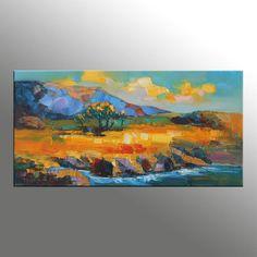 Landscape Painting, Oil Painting Landscape, Kitchen Decor, Original Painting, Street at Night, Palette Knife Oil Painting, Large Painting