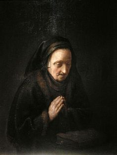 Old woman in prayer (Rembrandt's mother), by Gerrit Dou