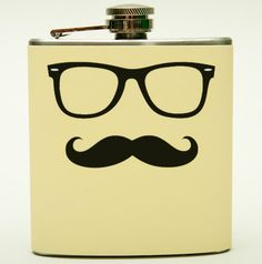 Mustache and Nerd Glasses Flask. classic 50s buddy holly ray ban glasses with mustache on ivory background. $15.99, via Etsy.