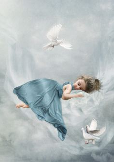 ♂ Dream ✚ Imagination ✚ Surrealism surreal art lieelte girl in blue sweet dreams Спящая голубка