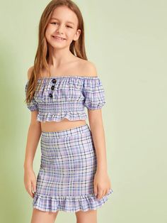 To find out about the Girls Shirred Panel Tartan Bardot Top and Skirt Set at SHEIN, part of our latest Girls Two-piece Outfits ready to shop online today! Preteen Girls Fashion, Kids Outfits Girls, Girls Fashion Clothes, Girl Outfits, Cute Outfits, Fashion Outfits, Young Fashion, Kids Fashion, Little Girl Dresses