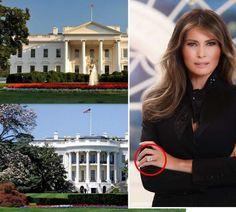 CONGRATULATIONS First Lady Melania Trump. Det første portrettet av USAs førstedame, Melania Trump, er offisielt lagt ut på nettet. Forlovelsesringen (innringet) som hun fikk av Donald Trump i 2004, skal ha hatt en pris på 1,5 millioner dollar (12,8 millioner kroner)