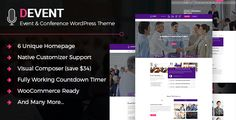 D Event the WordPress theme for event and conference website. D Event Conference WordPress theme will help you o create a full featured website. D Event WordPress theme also suitable for any events...