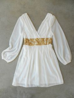 White + Gold Party Dress