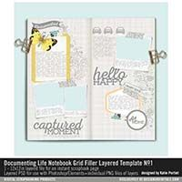 I'm going to document 2017 using these kits. Documenting Life Notebook Grid Filler Layered Template No. Self Development, Digital Scrapbooking, Grid, Prayers, Notebook, Printables, Templates, Life, Design