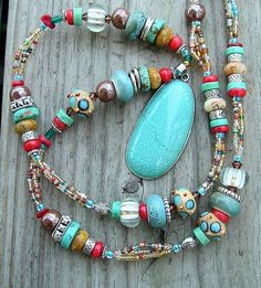 Multicolor Boho Cowgirl Western Style Necklace. Remember these colors for when I come back from New Mexico with turquoise beads.