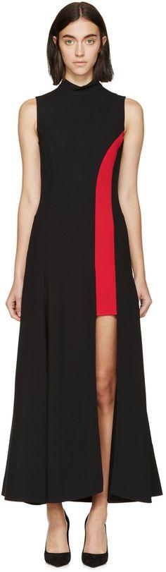 Versace Black & Red Crepe Dress