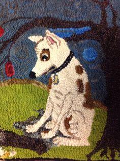 Rug hooking pattern linen primitive hooked rug rughooking folk art dog