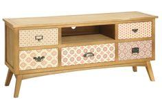 Mueble de tv con 5 cajones, realizado en madera de pino y paulonia Fantástico mueble para televión de diseño loft en madera de pino, paulonia y dm con cinco cajones acabados en di