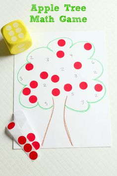 Apple theme math game for preschool learners. Counting, number identification and subitizing.