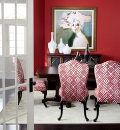 The rich, bold red makes this dining room elegant and functional