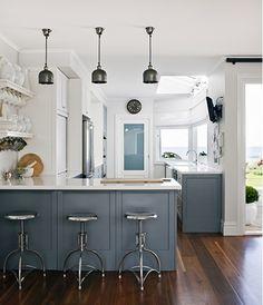 blue-gray and white kitchen Australian design firm Coco Republic Interior Design via Emily A Clark