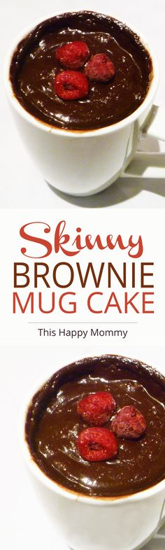 Skinny Brownie Mug Cake -- A perfect treat for chocolate cravings. This mug cake is decadent, chocolatey, and topped with avocado chocolate frosting. | thishappymommy.com