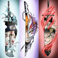 who is your overall favourite swordsman? - Art: @ - by Clover Anime Naruto, Naruto Shippuden Anime, Otaku Anime, Naruto Art, Manga Anime, Bleach Anime, Naruto Tattoo, Wallpaper Naruto Shippuden, Naruto Wallpaper
